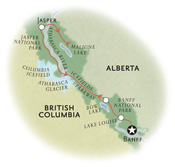 Jasper Banff Canada Map